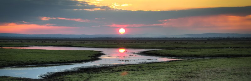 Sunset over the National Park Gorongosa in the center of Mozambique
