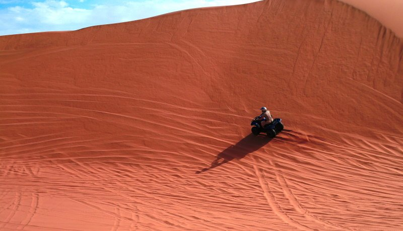 ATV driving at Namib desert near Swakopmund, Namibia