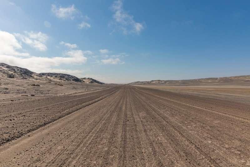Gravel road in Skeleton Coast Park, Namibia