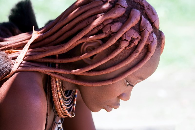 Profile of a Himba woman looking down